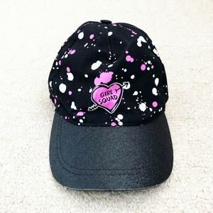 "Black & pink shimmery Girls' ""Girl Squad"" hat"